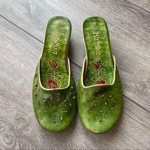 Miz Mooz Leather Green Floral Slipper Mule